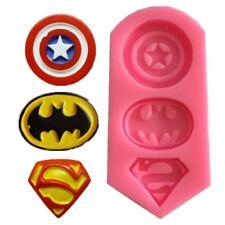 SUPERMAN/BATMAN/CAPTAIN AMERICA SYMBOL MOULD-ICING MOLD-SUPERHERO-FONDANT/SUGAR