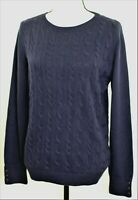 Talbots Navy Crew Neck Cable Knit Long Sleeve Pullover Sweater Women's Large