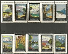 New Zealand 1937 Tourism Set of 10 Poster Stamps Mint Never Hinged