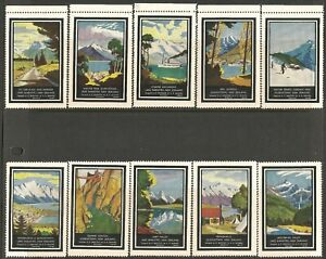 New Zealand 1937 Tourism  Poster Stamps Set of 10 Mint Never Hinged