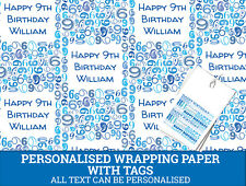Personalised Happy 9th Birthday Wrapping paper - Blue Gift wrap with number 9