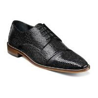 Stacy Adams mens shoes Rizzo iguana print leather Black Lace Up Oxford 25086-001