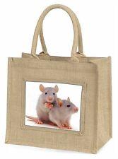 Silver Blue Rats Large Natural Jute Shopping Bag Christmas Gift Idea, RAT-1BLN