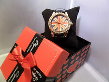 ladies girls union jack strap watch gift set box christmas newyr gift jewellery