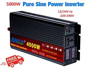 5000W Pure Sine Wave Inverter DC12/24V To AC 220-230V Solar Power Car Converter