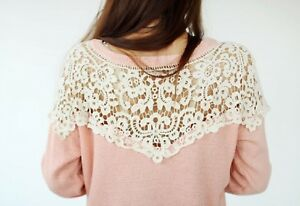dark ivory cotton floral lace collar applique ivory collar sewing lace motif