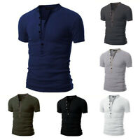 Fashion Men Slim Fit V Neck Short Sleeve T-shirt Button Casual Tops Blouse Shirt
