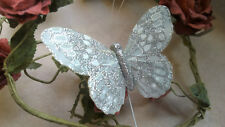 Silver Feather Butterfly with Glitter - 10.0cm wingspan