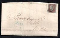 GB QV 1848 1d imperf red cover (Entire) Whitehaven to Leeds WS20733