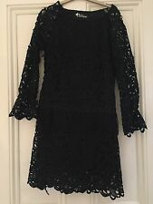 BLACK LACE FRINGE DRESS SIZE 10 ALICE SUMMER PARTY TOWIE HOLIDAY NEW RRP £85