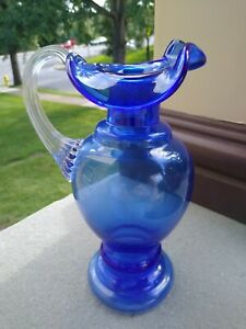 Fenton Cobalt Blue Art Glass Pitcher/Ewer  Reeded Handle 8.5 inches tall