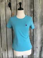 346 Brooks Brothers Women's Med M Top Blue Basic Solid Tee Embroidered Logo
