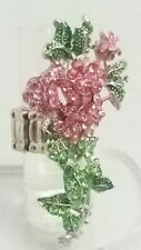"""Pink Rose Flower Large Cocktail Ring Crystal 2.5"""" Silver Plated Stretch Band"""