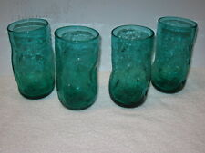 BLENKO GLASS, DIMPLE GLASS TUMBLERS, #418  ---   CRACKLE GLASS, SEA GREEN (4)