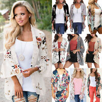 Womens Holiday Floral Kimono Cardigan Summer Casual Jacket Tops Boho Blouse Coat