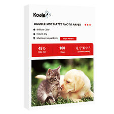 100 Koala 8.5x11 Double Sided Matte 48lb 180g Inkjet Printer Photo Paper HP EP