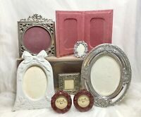 Vintage Set Picture Frames Silver Pewter Filigree White Pink Wedding Oval Lot/8