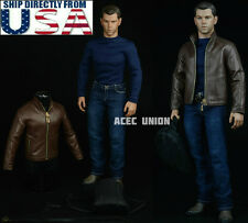 "1/6 Men Leather Jacket Set For Matt Damon Jason Bourne 12"" Hot Toys Figure USA"