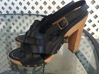 RAMPAGE 'Maribelle' Black Strappy Boho Open Toe Sandals Heels Shoes Sz 8.5