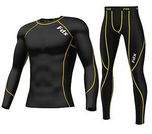 FDX Mens Compression Armour Base layer Top Skin Fit Shirt + Pants/Leggings set