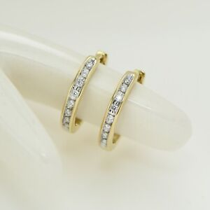 0.10ct TDW 9K Solid Yellow Gold Natural Diamond Huggie Earrings(made-by-order)