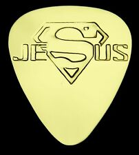 JESUS SUPERMAN - Solid Brass Guitar Pick, Acoustic, Electric, Bass