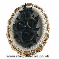 steampunk jewellery gothic emo pin brooch badge black rose bronze backing #MP36