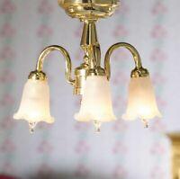 1/12 Scale Dolls House Emporium Three Arm Hanging Ceiling Tulip Light 12V 7419