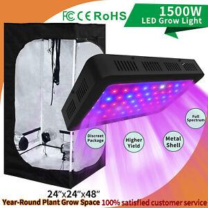 Full Spectrum 1500W LED Grow Light Kit + 24'' x 48'' Indoor Grow Tent Plant Box