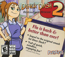 DINER DASH 2 Restaurant Rescue - PlayFirst Tycoon Type PC Game For Windows - NEW