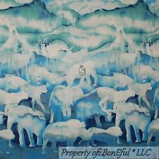 BonEful Fabric FQ Cotton Quilt Blue Green Giraffe Lion Elephant Leopard Elk Bear