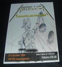 Metallica-Damaged Justice Tour,Dublin 1988 concert poster print,A3 size