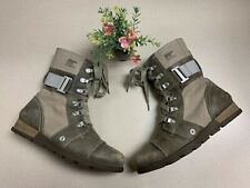 SOREL Major Carly Leather Military Distressed Combat Boots Shoes Womans SZ 7.5