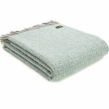 TWEEDMILL TEXTILES 100% Wool Sofa Bed Blanket ILLUSION SPEARMINT & GREY THROW