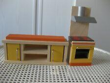 Puppenmöbel für Puppenhäuser - 2-teilige Küche aus Holz