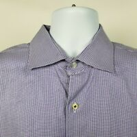 Peter Millar Mens Purple Nailshead Check Dress Button Shirt Size XL