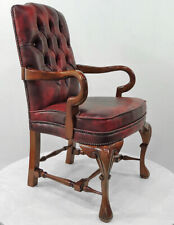 CLASSICAL MAHOGANY WINGBACK CHAIR, roter CHESTERFIELD LESESESSEL, MAHAGONI STUHL