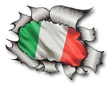 Ripped Torn Metal Look Design ITALY Italian il Tricolore Flag vinyl car sticker