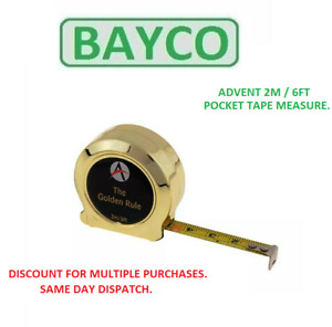 Advent Gold Tape Measure 2m 6ft Metric and Imperial Golden Rule Tape ADVGR2ME