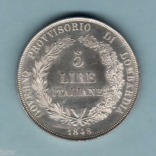 Italy - Lombardy. 1848-M 5 Lire.. aU-UNC