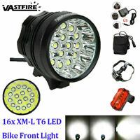 60000LM 16 XML T6 Super Bright MTB Bike Headlight Cycling Front Rear Lamp Riding
