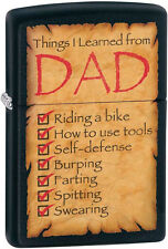 """Zippo """"Things I Learned From Dad"""" Black Matte Windproof Lighter 28372 NEW L@@K"""