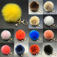 Fluffy Ball Artifical Rabbit Fur Car Keychain Pendant Handbag Charm Keyring Pom