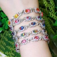 Regenbogen Mystisch Zirkonia Blatt Blume Design Kettenglied Armband für Frauen