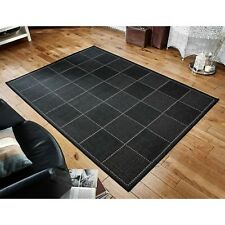 Black Checked Flatweave Kitchen Rugs & Runners Anti slip Back in various sizes