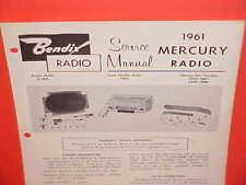 1961 MERCURY MONTEREY CONVERTIBLE METEOR 600 800 BENDIX AM RADIO SERVICE MANUAL