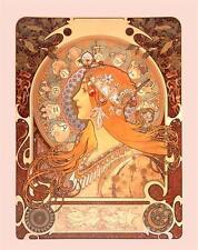 Alphonse Alfons Mucha Art Nouveau Deco Zodiaco Segno Zodiacale foto STAMPA POSTER
