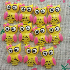 10pcs Owl Flatback Resin Cabochon Scrapbooking for craft.yellow @