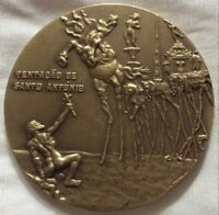 LOT-3 SALVADOR DALI,TENTATION OF SAINT ANTHONY,STUNNING HUGE BRONZE MEDAL.70 MM,