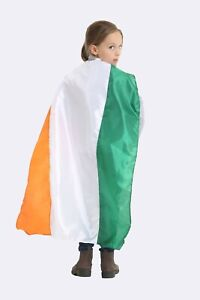 St Patrick Tricolor Irish Flag Satin Cape Cloak Children Fancy Dress Accessory
